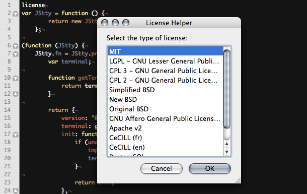 License Helper Textmate Bundle