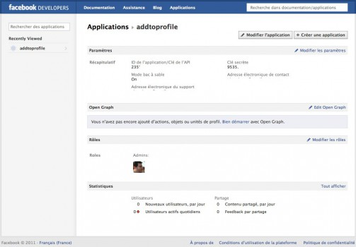 Page de configuration d'une application Facebook