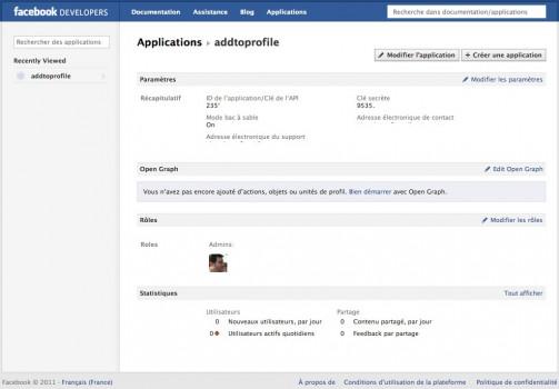 Page de configuration d'une application Facebook